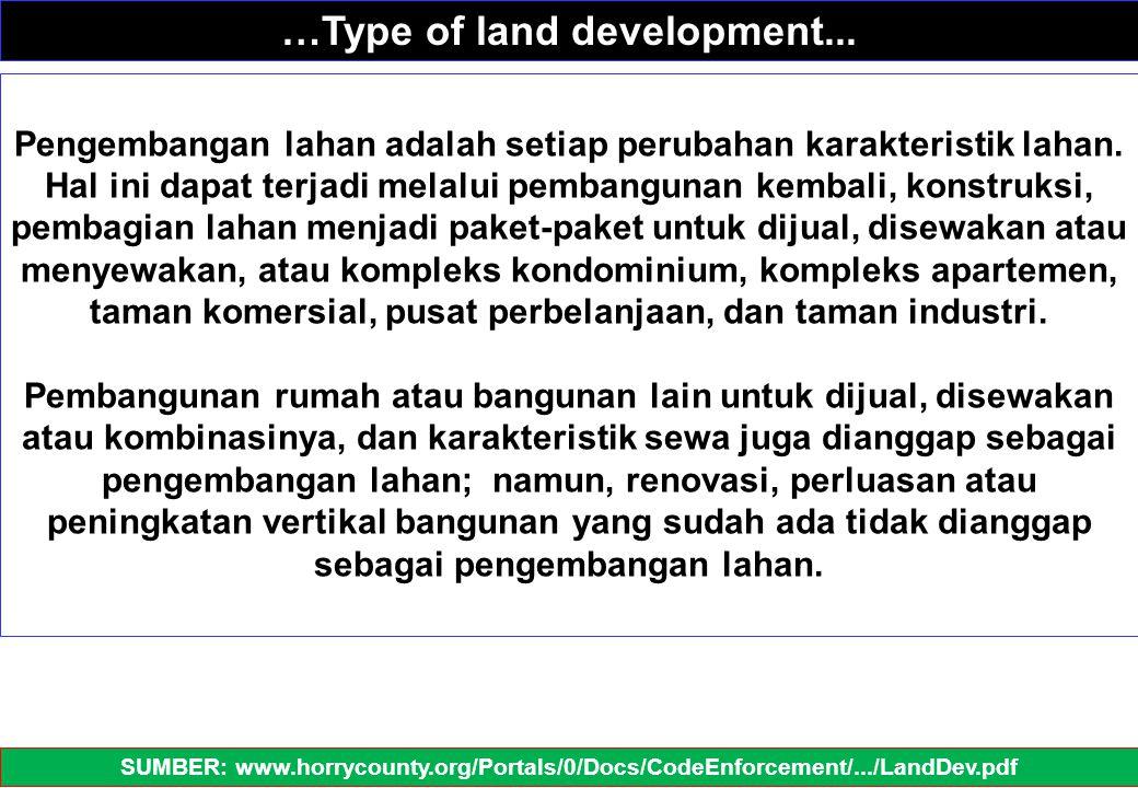 Pengembangan lahan adalah setiap perubahan karakteristik lahan. Hal ini dapat terjadi melalui pembangunan kembali, konstruksi, pembagian lahan menjadi