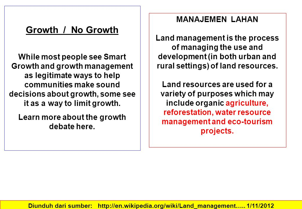 The term sustainable land management is used in soil and environmental protection, in preservation of ecosystem services and mineral extraction.