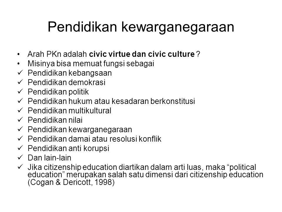 Pendidikan kewarganegaraan Arah PKn adalah civic virtue dan civic culture ? Misinya bisa memuat fungsi sebagai Pendidikan kebangsaan Pendidikan demokr