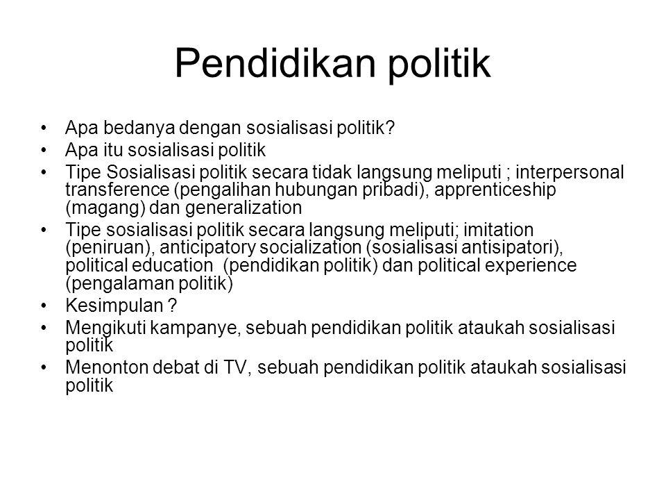 Pendidikan politik Apa bedanya dengan sosialisasi politik? Apa itu sosialisasi politik Tipe Sosialisasi politik secara tidak langsung meliputi ; inter