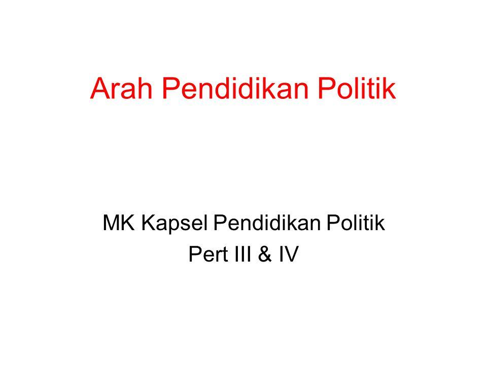 Arah Pendidikan Politik MK Kapsel Pendidikan Politik Pert III & IV