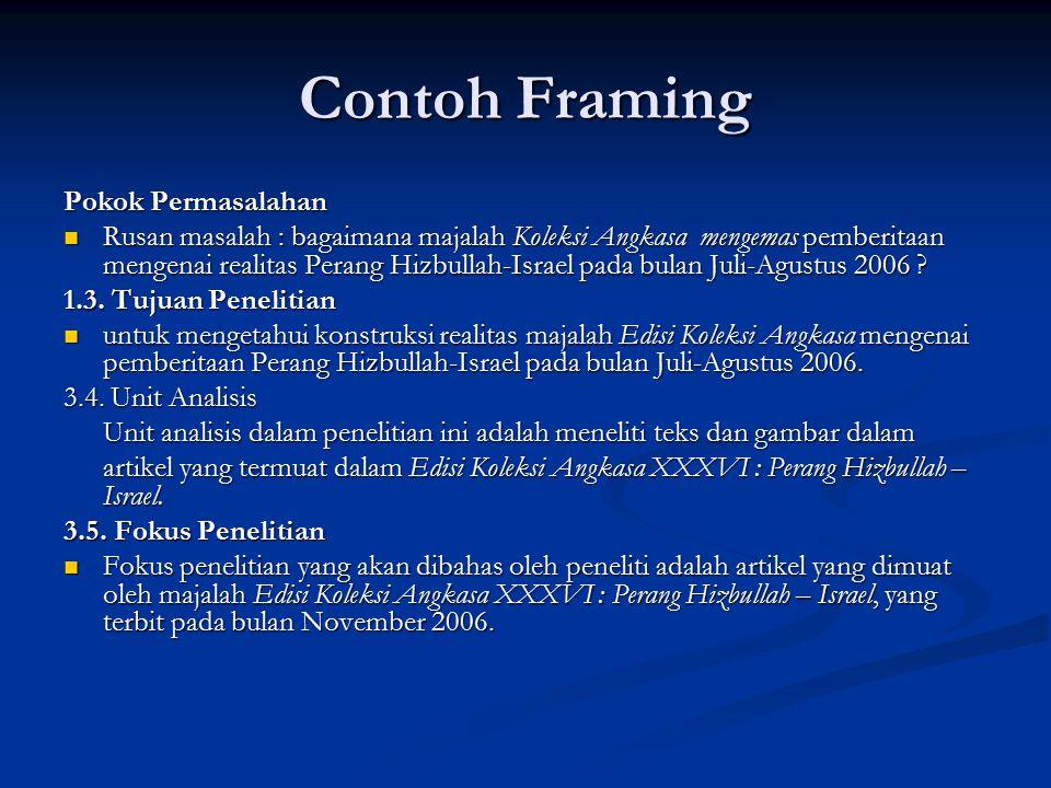 Contoh Framing Pokok Permasalahan Rusan masalah : bagaimana majalah Koleksi Angkasa mengemas pemberitaan mengenai realitas Perang Hizbullah-Israel pada bulan Juli-Agustus 2006 .