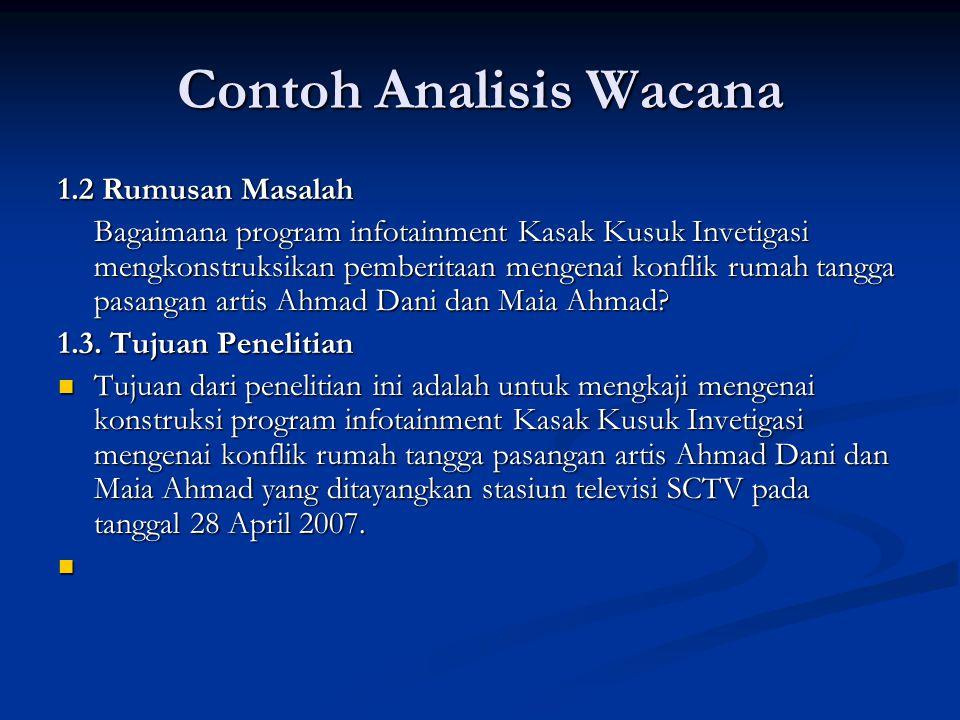 Contoh Analisis Wacana 1.2 Rumusan Masalah Bagaimana program infotainment Kasak Kusuk Invetigasi mengkonstruksikan pemberitaan mengenai konflik rumah tangga pasangan artis Ahmad Dani dan Maia Ahmad.