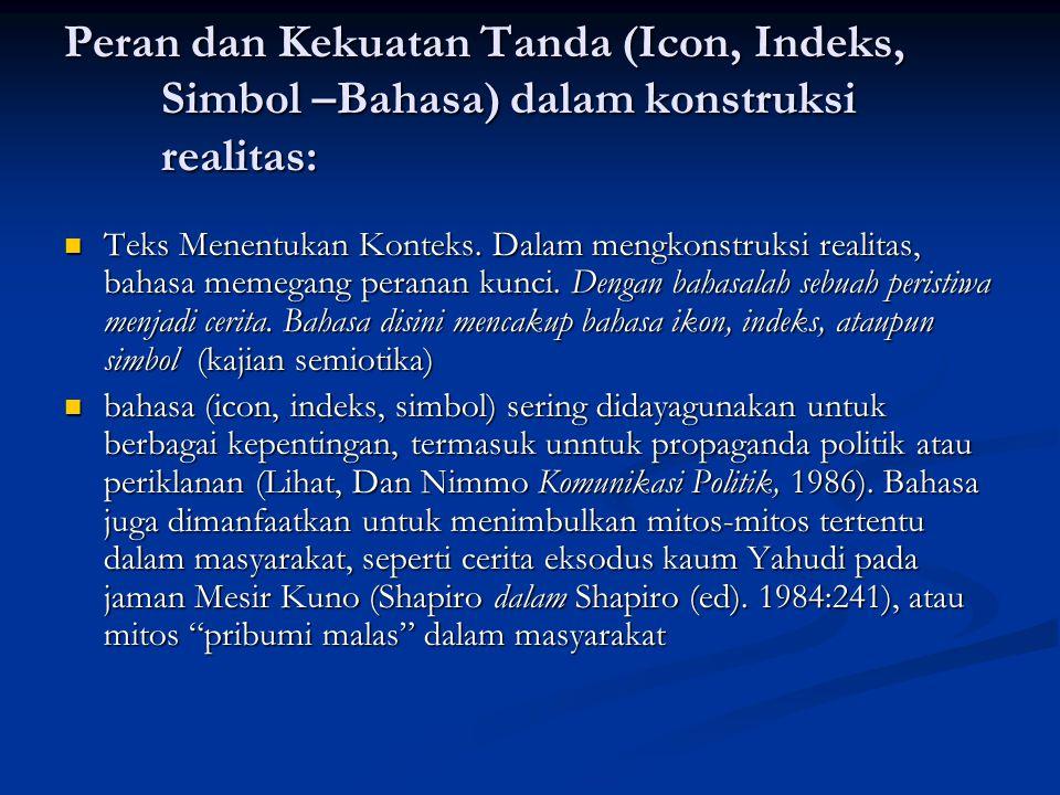 Peran dan Kekuatan Tanda (Icon, Indeks, Simbol –Bahasa) dalam konstruksi realitas: Teks Menentukan Konteks. Dalam mengkonstruksi realitas, bahasa meme