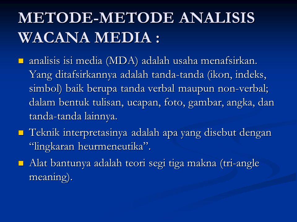 METODE-METODE ANALISIS WACANA MEDIA : analisis isi media (MDA) adalah usaha menafsirkan. Yang ditafsirkannya adalah tanda-tanda (ikon, indeks, simbol)