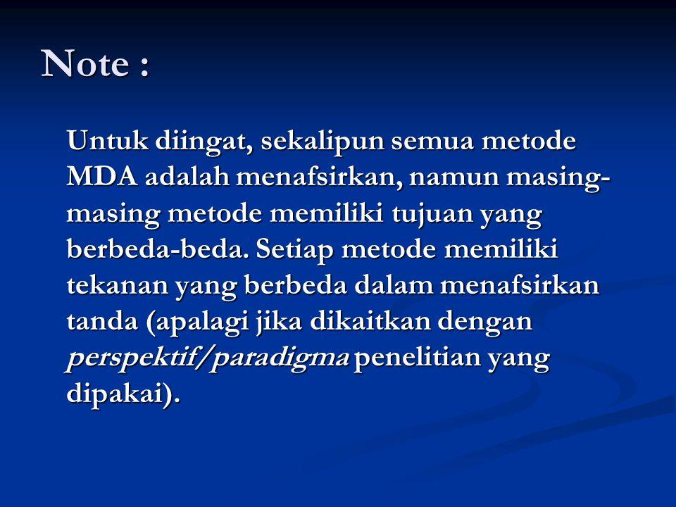 Note : Untuk diingat, sekalipun semua metode MDA adalah menafsirkan, namun masing- masing metode memiliki tujuan yang berbeda-beda.