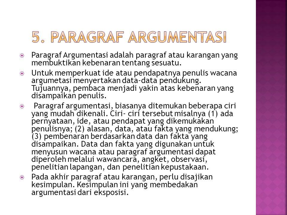  Paragraf Argumentasi adalah paragraf atau karangan yang membuktikan kebenaran tentang sesuatu.  Untuk memperkuat ide atau pendapatnya penulis wacan