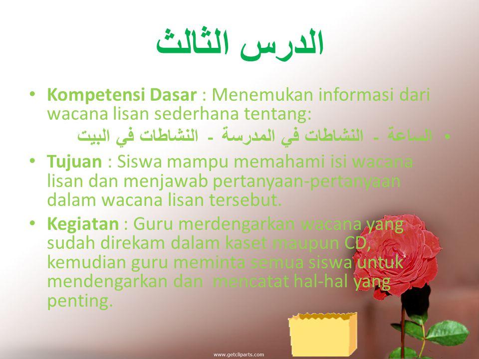 الدرس الثاني Kompetensi Dasar : Mengidentifikasi bunyi huruf hijaiyah dan ujaran (kata, frase atau kalimat) tentang: الساعة - النشاطات في المدرسة - ال