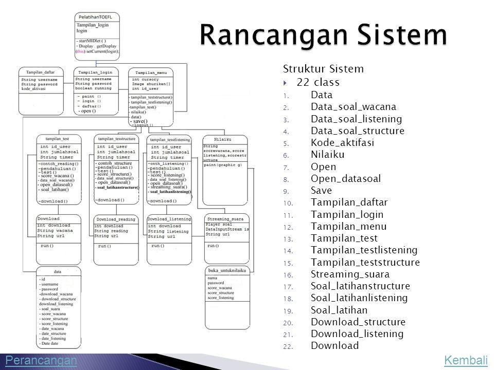 Struktur Sistem  22 class 1. Data 2. Data_soal_wacana 3. Data_soal_listening 4. Data_soal_structure 5. Kode_aktifasi 6. Nilaiku 7. Open 8. Open_datas