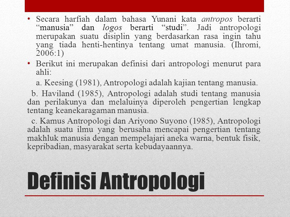 Definisi Antropologi menurut Koentjaraningrat Koentjaraningrat (1990), Ilmu antropologi memperhatikan lima masalah mengenai makhluk hidup yaitu : 1.