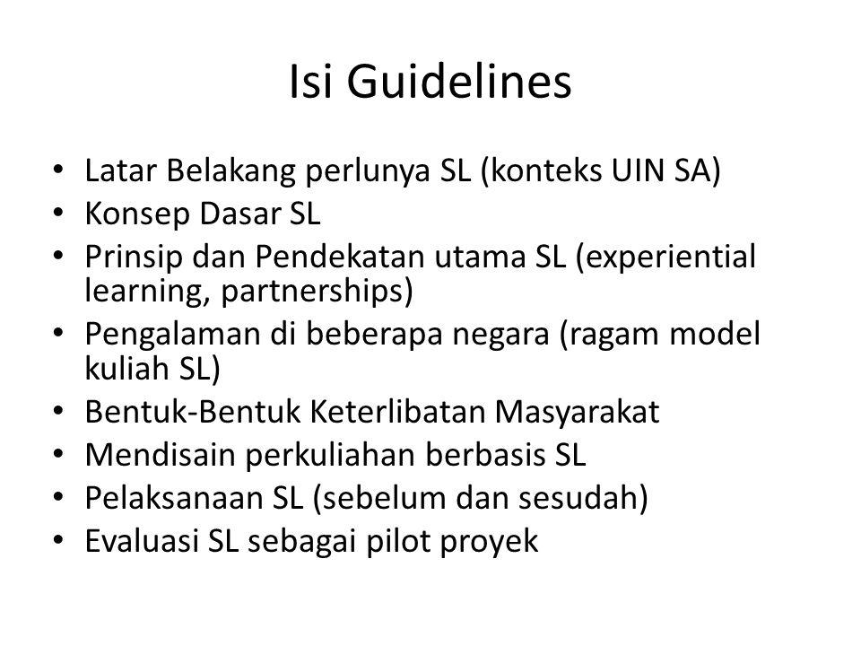Isi Guidelines Latar Belakang perlunya SL (konteks UIN SA) Konsep Dasar SL Prinsip dan Pendekatan utama SL (experiential learning, partnerships) Penga