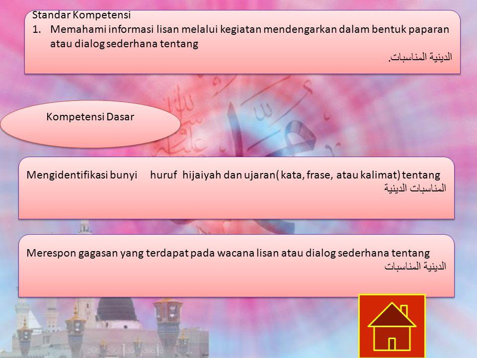 Standar Kompetensi 1.Memahami informasi lisan melalui kegiatan mendengarkan dalam bentuk paparan atau dialog sederhana tentang الدينية المناسبات.