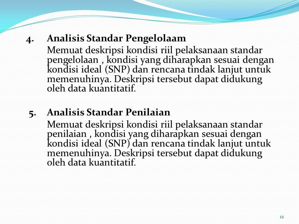 4.Analisis Standar Pengelolaam Memuat deskripsi kondisi riil pelaksanaan standar pengelolaan, kondisi yang diharapkan sesuai dengan kondisi ideal (SNP) dan rencana tindak lanjut untuk memenuhinya.