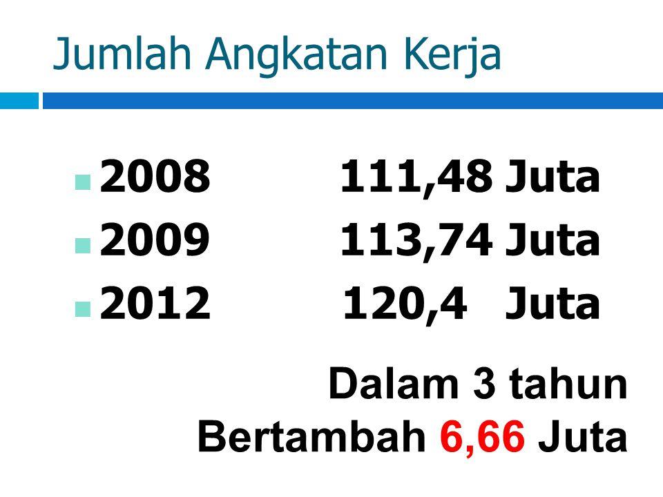 Jumlah Angkatan Kerja 2008111,48 Juta 2009113,74 Juta 2012 120,4 Juta Dalam 3 tahun Bertambah 6,66 Juta