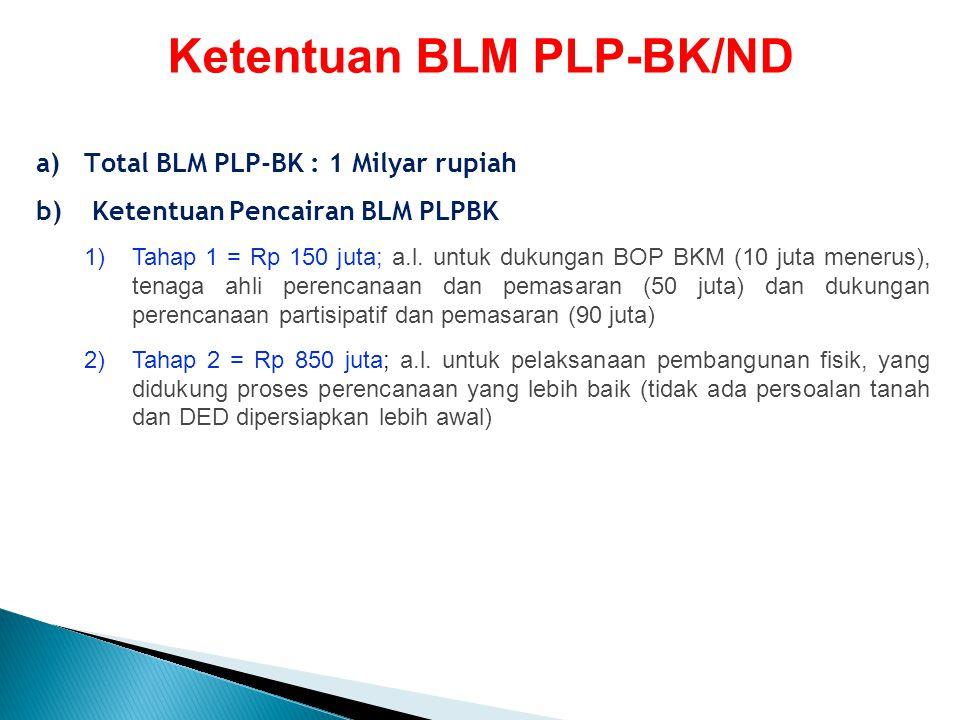 a)Total BLM PLP-BK : 1 Milyar rupiah b) Ketentuan Pencairan BLM PLPBK 1)Tahap 1 = Rp 150 juta; a.l. untuk dukungan BOP BKM (10 juta menerus), tenaga a