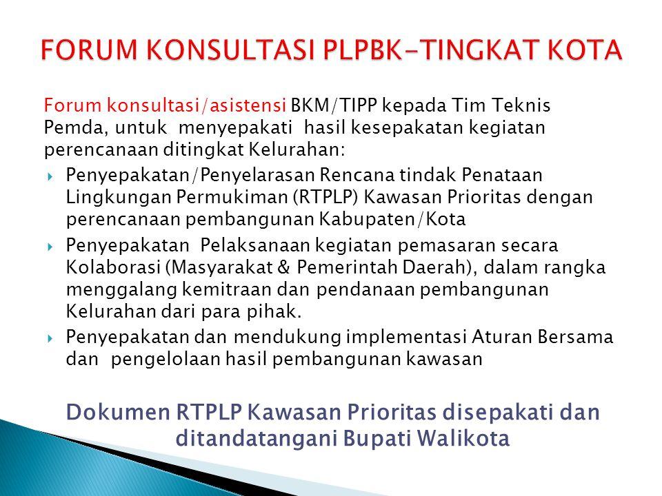 Forum konsultasi/asistensi BKM/TIPP kepada Tim Teknis Pemda, untuk menyepakati hasil kesepakatan kegiatan perencanaan ditingkat Kelurahan:  Penyepaka