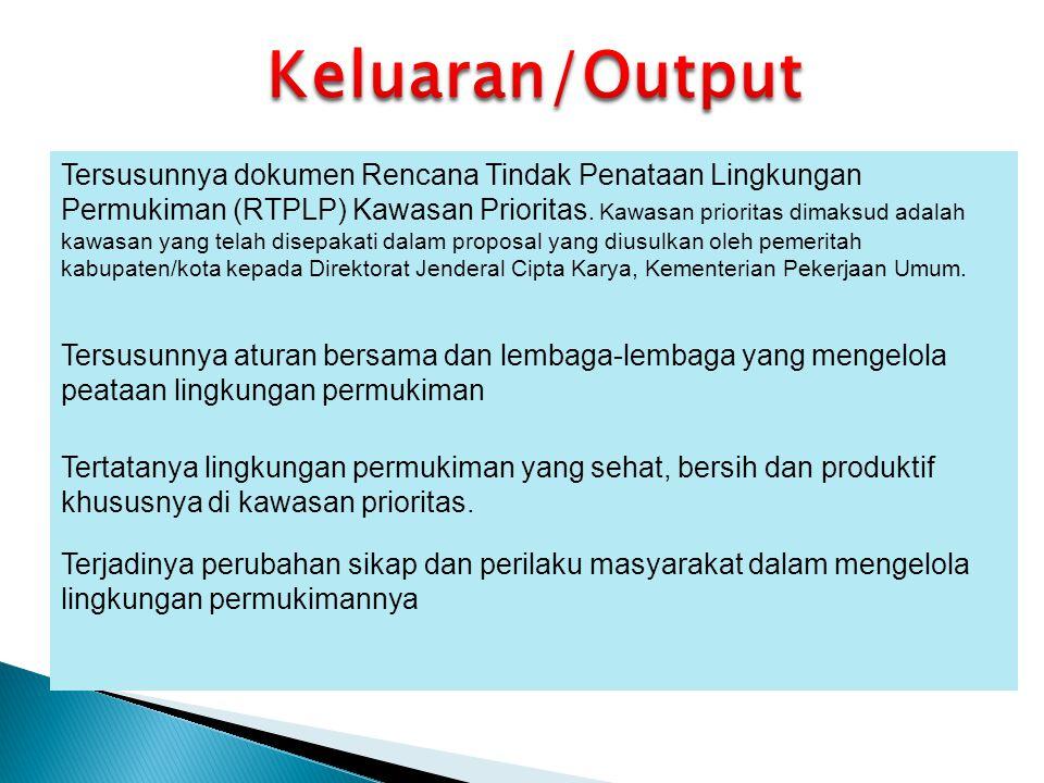 Tersusunnya dokumen Rencana Tindak Penataan Lingkungan Permukiman (RTPLP) Kawasan Prioritas. Kawasan prioritas dimaksud adalah kawasan yang telah dise