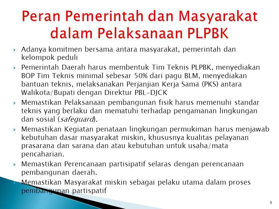  Adanya komitmen bersama antara masyarakat, pemerintah dan kelompok peduli  Pemerintah Daerah harus membentuk Tim Teknis PLPBK, menyediakan BOP Tim