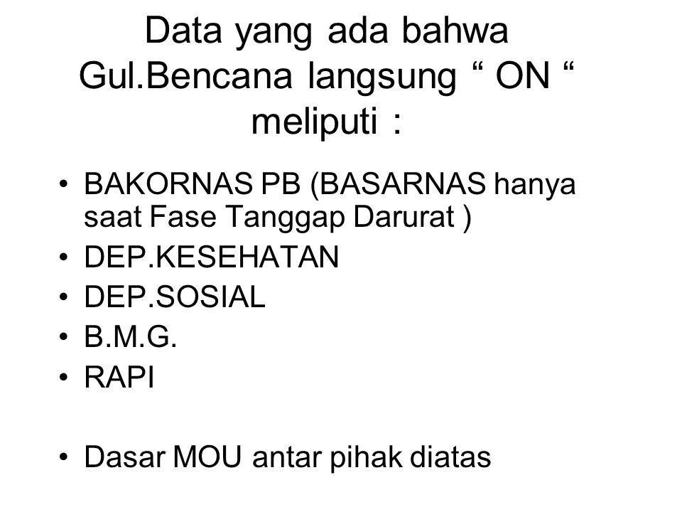 Data yang ada bahwa Gul.Bencana langsung ON meliputi : BAKORNAS PB (BASARNAS hanya saat Fase Tanggap Darurat ) DEP.KESEHATAN DEP.SOSIAL B.M.G.