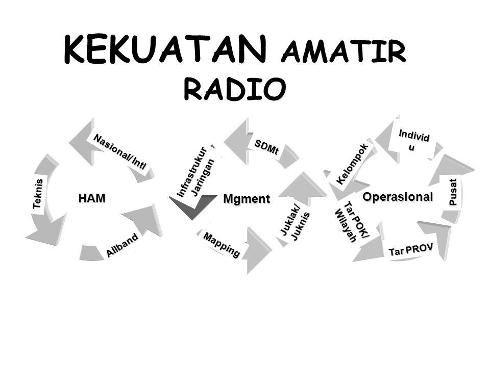 KEKUATAN AMATIR RADIO MgmentSDMtInfrastrukurJaringan Mapping Juklak/Juknis Operasional Kelompok Individ u Pusat Tar PROV Tar POK/ Wilayah HAM Nasional/ Intl Teknis Allband