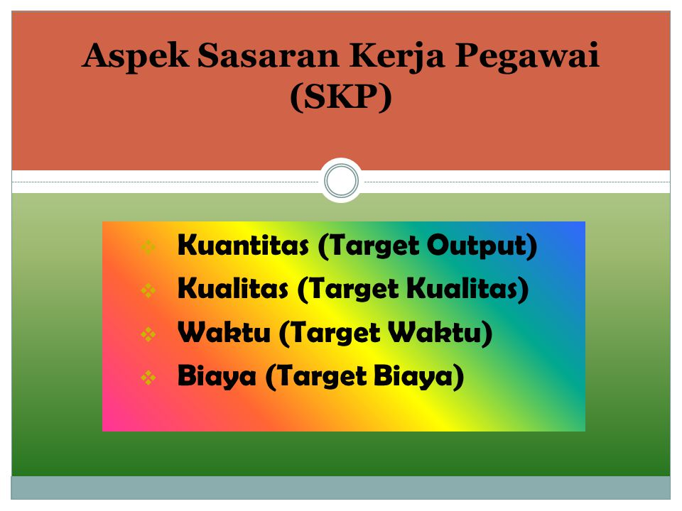  Kuantitas (Target Output)  Kualitas (Target Kualitas)  Waktu (Target Waktu)  Biaya (Target Biaya) Aspek Sasaran Kerja Pegawai (SKP)
