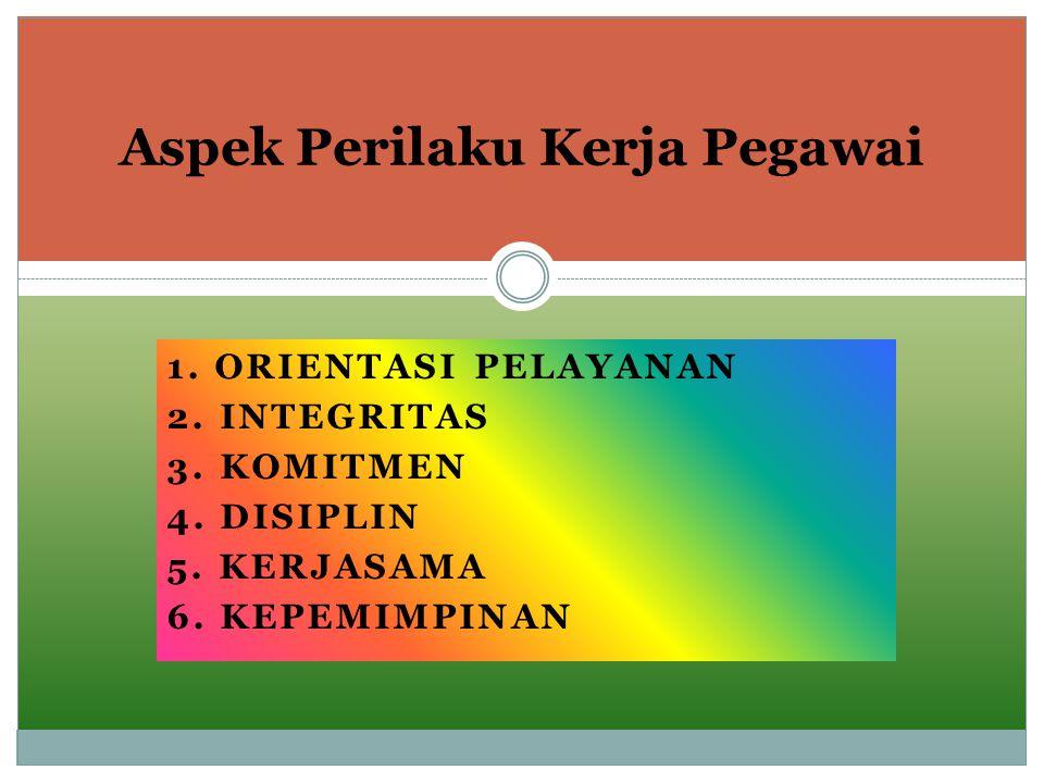1. ORIENTASI PELAYANAN 2. INTEGRITAS 3. KOMITMEN 4. DISIPLIN 5. KERJASAMA 6. KEPEMIMPINAN Aspek Perilaku Kerja Pegawai