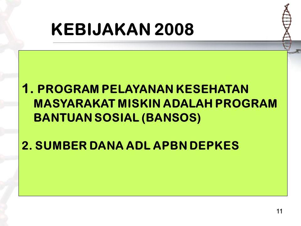 11 KEBIJAKAN 2008 1. PROGRAM PELAYANAN KESEHATAN MASYARAKAT MISKIN ADALAH PROGRAM BANTUAN SOSIAL (BANSOS) 2. SUMBER DANA ADL APBN DEPKES
