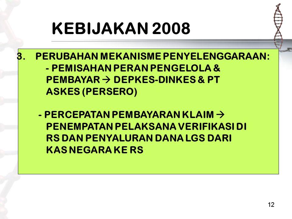 12 KEBIJAKAN 2008 3. PERUBAHAN MEKANISME PENYELENGGARAAN: - PEMISAHAN PERAN PENGELOLA & PEMBAYAR  DEPKES-DINKES & PT ASKES (PERSERO) - PERCEPATAN PEM