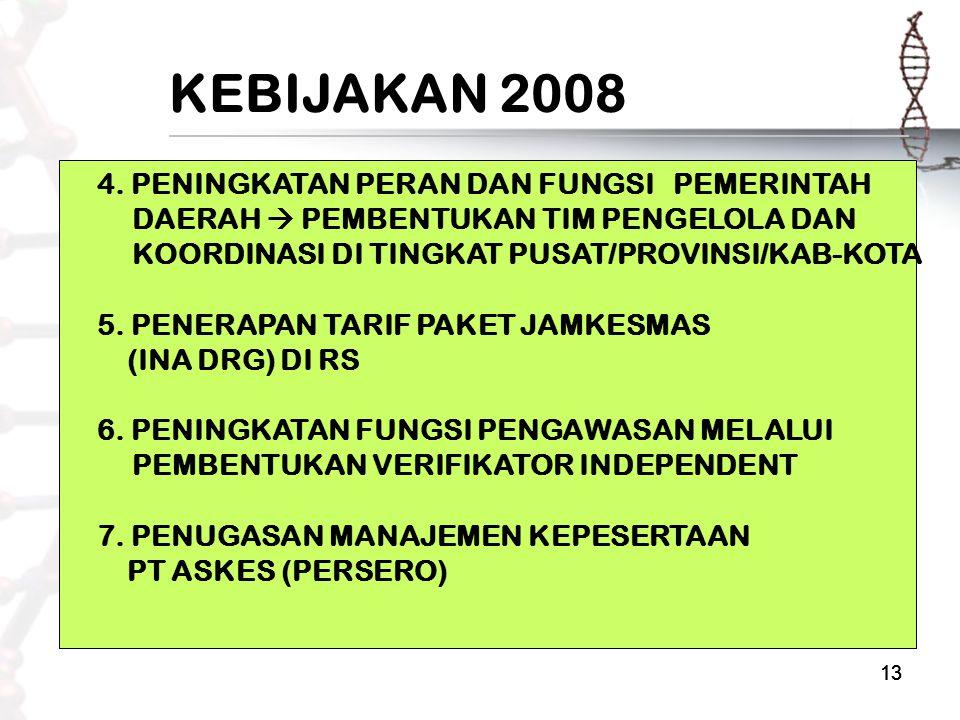 13 KEBIJAKAN 2008 4. PENINGKATAN PERAN DAN FUNGSI PEMERINTAH DAERAH  PEMBENTUKAN TIM PENGELOLA DAN KOORDINASI DI TINGKAT PUSAT/PROVINSI/KAB-KOTA 5. P