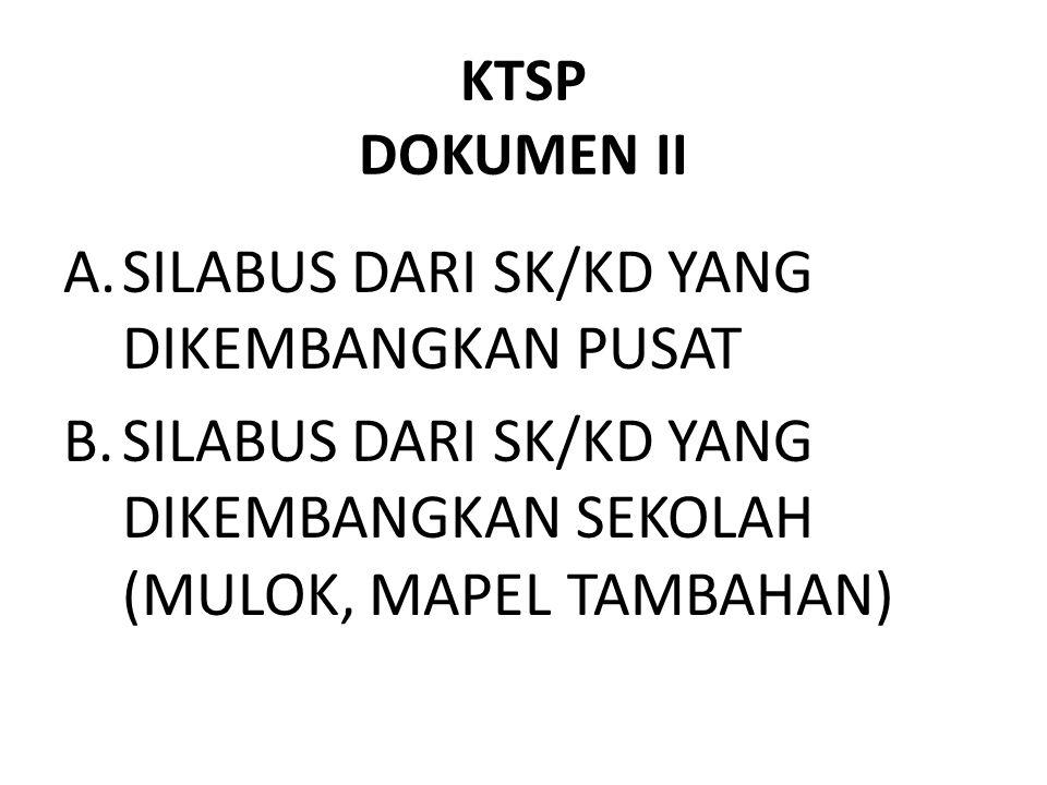 KTSP DOKUMEN II A.SILABUS DARI SK/KD YANG DIKEMBANGKAN PUSAT B.SILABUS DARI SK/KD YANG DIKEMBANGKAN SEKOLAH (MULOK, MAPEL TAMBAHAN)