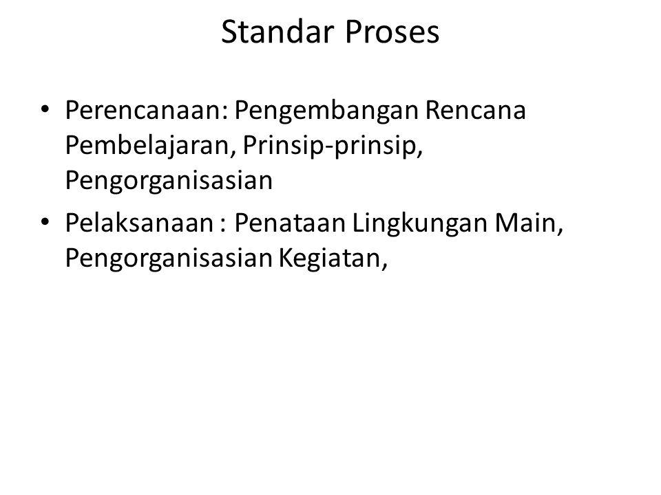 Standar Proses Perencanaan: Pengembangan Rencana Pembelajaran, Prinsip-prinsip, Pengorganisasian Pelaksanaan : Penataan Lingkungan Main, Pengorganisas