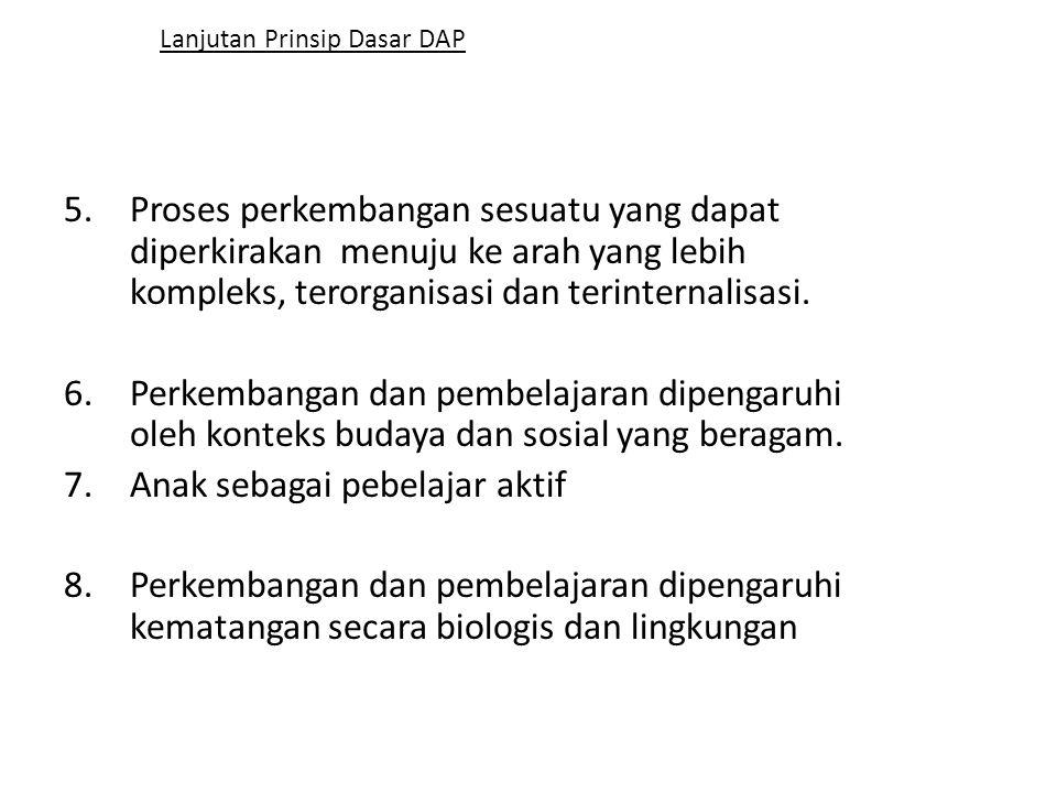Lanjutan Prinsip Dasar DAP 5.Proses perkembangan sesuatu yang dapat diperkirakan menuju ke arah yang lebih kompleks, terorganisasi dan terinternalisas