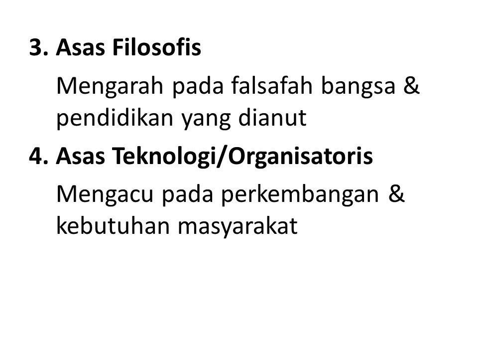 3.Asas Filosofis Mengarah pada falsafah bangsa & pendidikan yang dianut 4.Asas Teknologi/Organisatoris Mengacu pada perkembangan & kebutuhan masyaraka