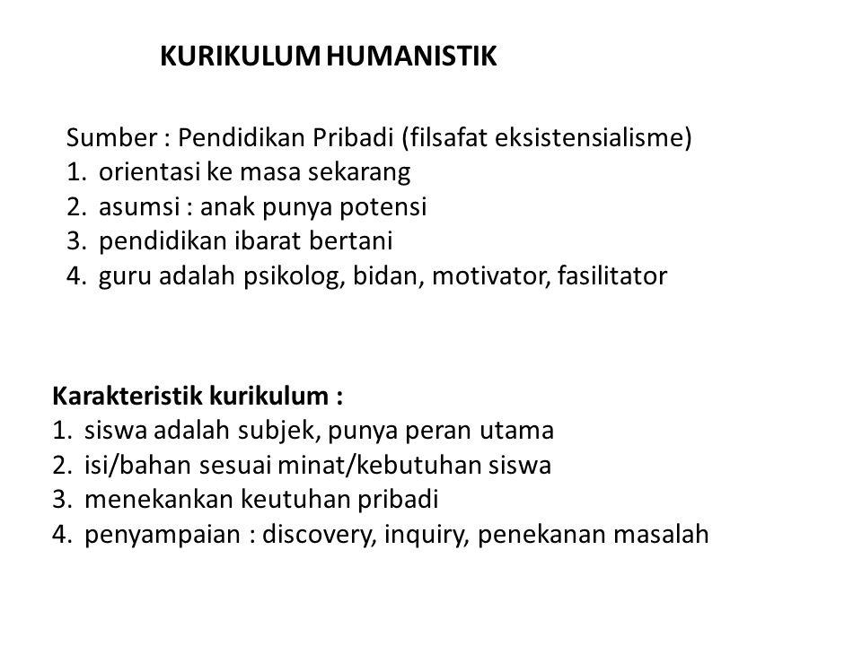 KURIKULUM HUMANISTIK Sumber : Pendidikan Pribadi (filsafat eksistensialisme) 1.orientasi ke masa sekarang 2.asumsi : anak punya potensi 3.pendidikan i
