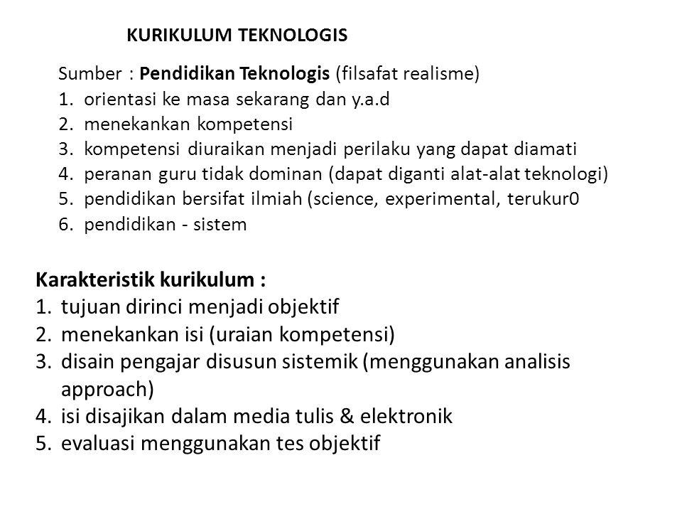 KURIKULUM TEKNOLOGIS Sumber : Pendidikan Teknologis (filsafat realisme) 1.orientasi ke masa sekarang dan y.a.d 2.menekankan kompetensi 3.kompetensi di