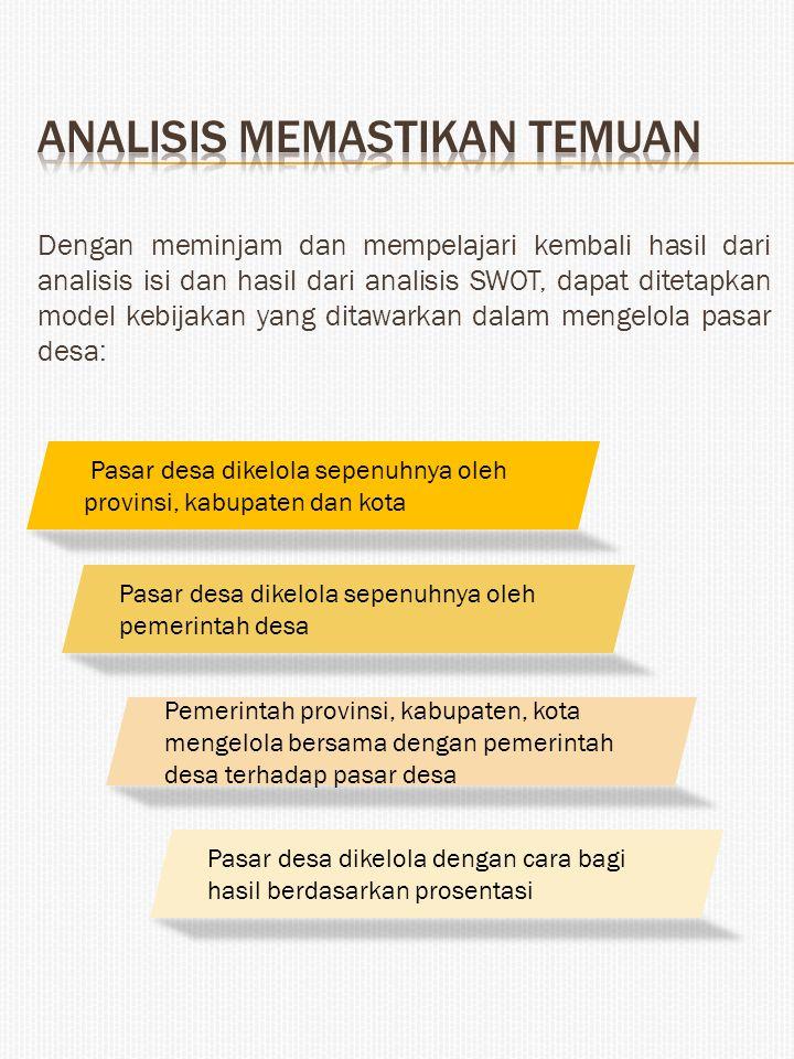 Dengan meminjam dan mempelajari kembali hasil dari analisis isi dan hasil dari analisis SWOT, dapat ditetapkan model kebijakan yang ditawarkan dalam m