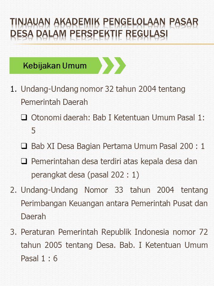 1.Undang-Undang nomor 32 tahun 2004 tentang Pemerintah Daerah  Otonomi daerah: Bab I Ketentuan Umum Pasal 1: 5  Bab XI Desa Bagian Pertama Umum Pasa