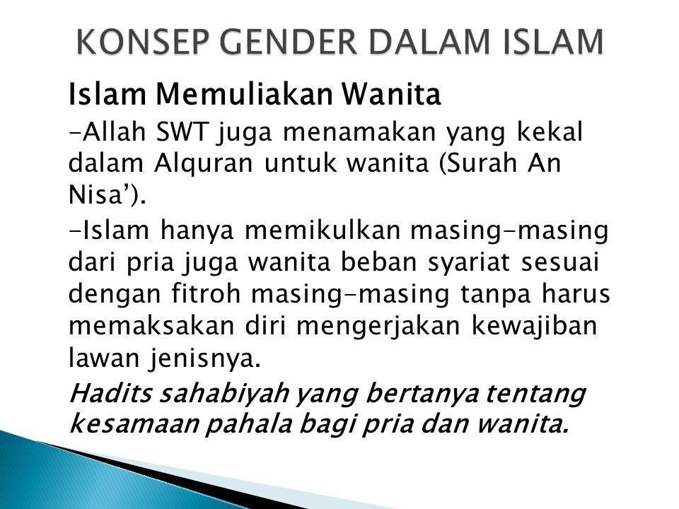 Islam Memuliakan Wanita -Allah SWT juga menamakan yang kekal dalam Alquran untuk wanita (Surah An Nisa'). -Islam hanya memikulkan masing-masing dari p