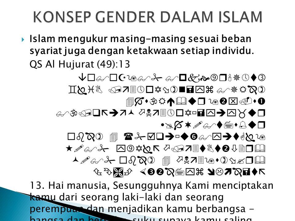  Islam mengukur masing-masing sesuai beban syariat juga dengan ketakwaan setiap individu. QS Al Hujurat (49):13    