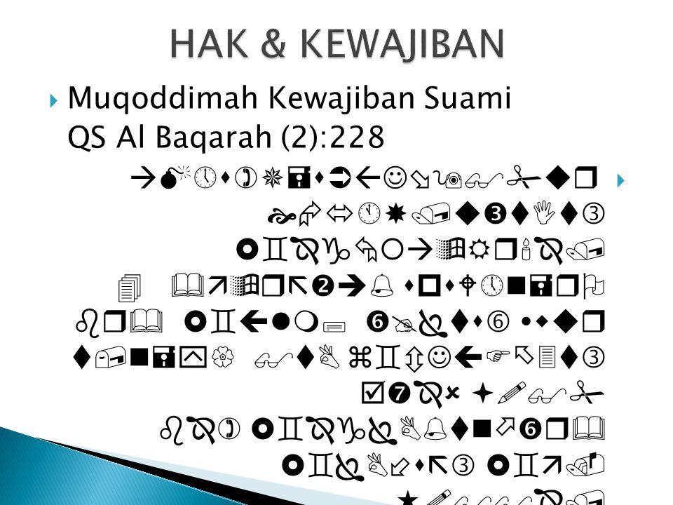  Muqoddimah Kewajiban Suami QS Al Baqarah (2):228             
