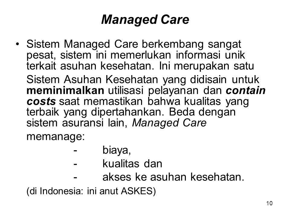 10 Managed Care Sistem Managed Care berkembang sangat pesat, sistem ini memerlukan informasi unik terkait asuhan kesehatan. Ini merupakan satu Sistem