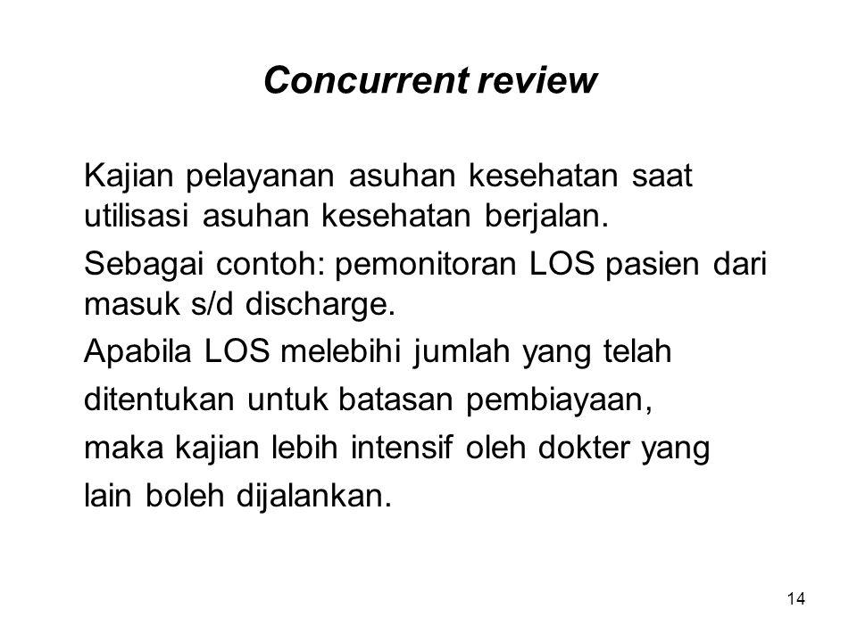 14 Concurrent review Kajian pelayanan asuhan kesehatan saat utilisasi asuhan kesehatan berjalan. Sebagai contoh: pemonitoran LOS pasien dari masuk s/d