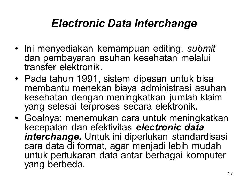 17 Electronic Data Interchange Ini menyediakan kemampuan editing, submit dan pembayaran asuhan kesehatan melalui transfer elektronik. Pada tahun 1991,