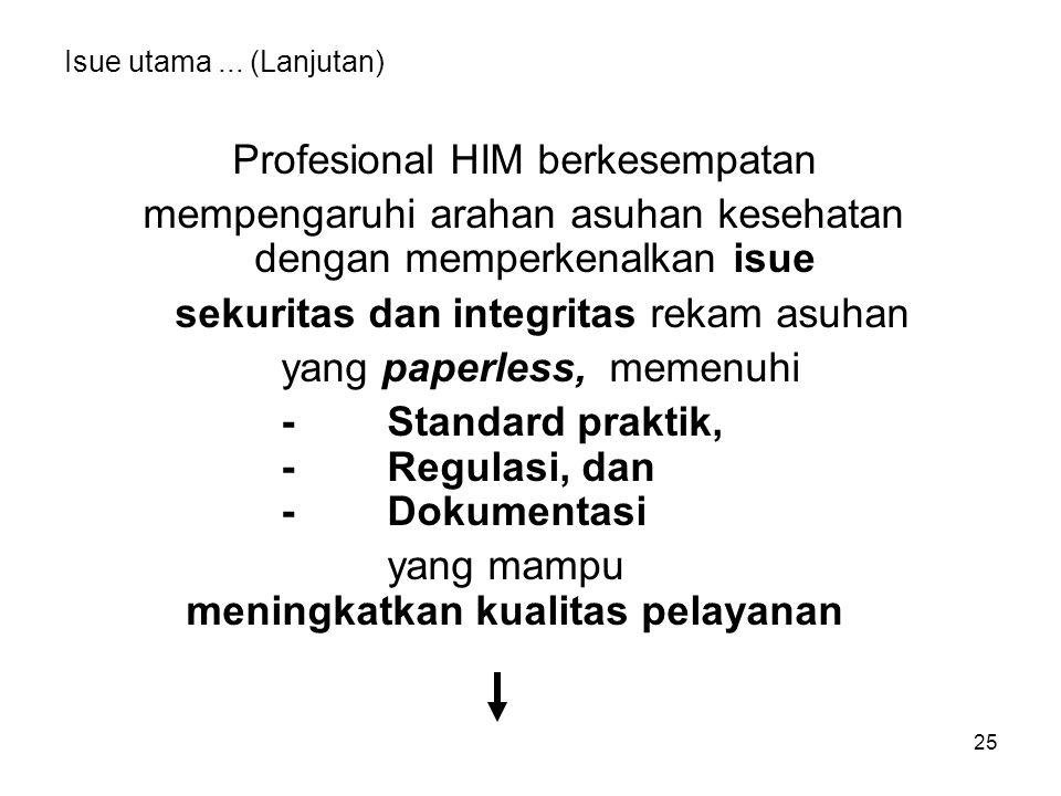 25 Isue utama... (Lanjutan) Profesional HIM berkesempatan mempengaruhi arahan asuhan kesehatan dengan memperkenalkan isue sekuritas dan integritas rek