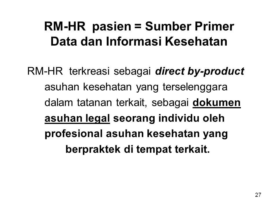 27 RM-HR pasien = Sumber Primer Data dan Informasi Kesehatan RM-HR terkreasi sebagai direct by-product asuhan kesehatan yang terselenggara dalam tatan