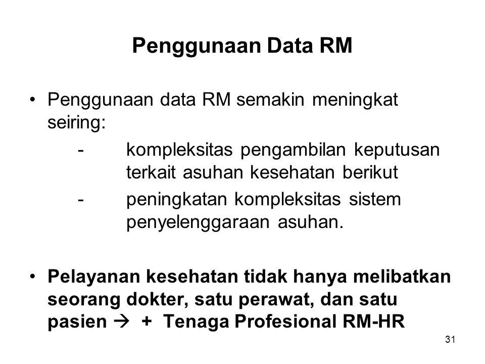 31 Penggunaan Data RM Penggunaan data RM semakin meningkat seiring: -kompleksitas pengambilan keputusan terkait asuhan kesehatan berikut -peningkatan