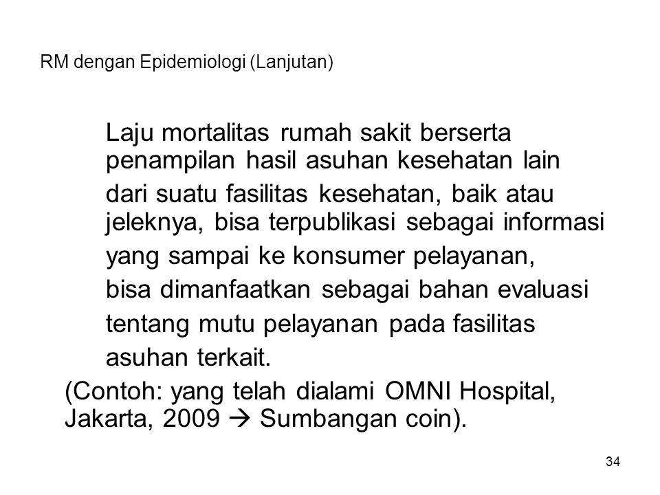 34 RM dengan Epidemiologi (Lanjutan) Laju mortalitas rumah sakit berserta penampilan hasil asuhan kesehatan lain dari suatu fasilitas kesehatan, baik