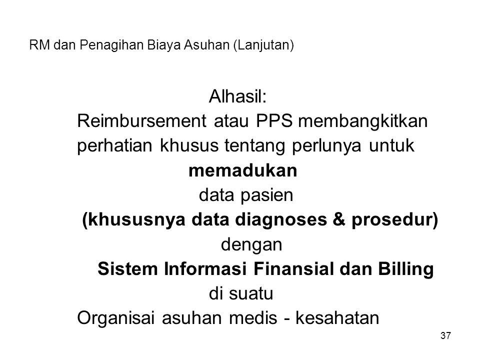 37 RM dan Penagihan Biaya Asuhan (Lanjutan) Alhasil: Reimbursement atau PPS membangkitkan perhatian khusus tentang perlunya untuk memadukan data pasie
