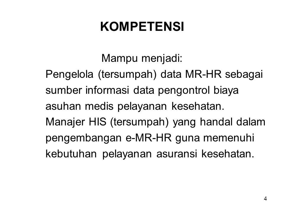 KOMPETENSI Mampu menjadi: Pengelola (tersumpah) data MR-HR sebagai sumber informasi data pengontrol biaya asuhan medis pelayanan kesehatan. Manajer HI
