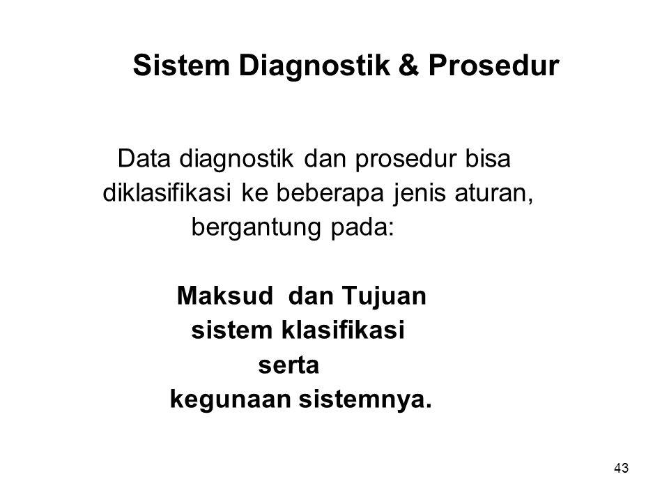 43 Sistem Diagnostik & Prosedur Data diagnostik dan prosedur bisa diklasifikasi ke beberapa jenis aturan, bergantung pada: Maksud dan Tujuan sistem kl